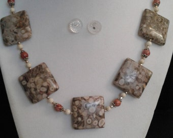 Hand crafted, fossil coral, riverstone, lepidolite gemstone, and sterling silver necklace