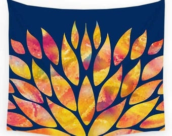 Blue Tapestry, Red Orange Yellow Wall Tapestry, Wall Hanging Bohemian Tapestries Boho Style, Bedroom Decor, Home Decor, Boho Bedspread