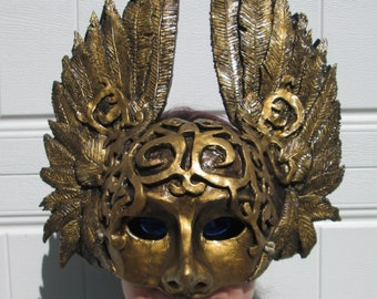 Golden Masquerade mask, winged mask, Victorian, Steampunk, Mythological, Goddess, Greek God, made to order, Halloween mask
