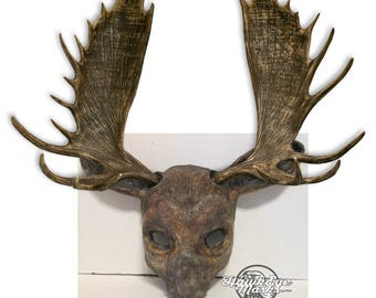 Moose mask, realistic costume animal mask, faux antlers, made to order, handmade, hand painted, masquerade mask, Carnival mask