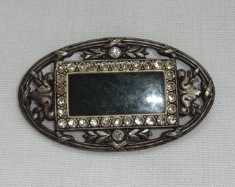 Vintage pin with Black stone and  Rhinestones
