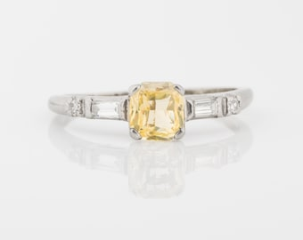 Retro Vintage Canary Yellow Sapphire 1.14ct and Accent Diamonds, ATL #128B