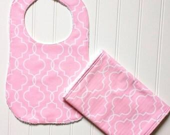 Precious Pink Bib and Burp Cloth Set