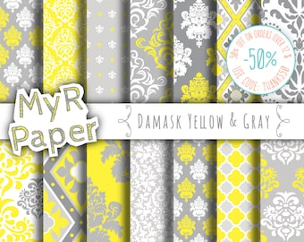 """Digital paper damask: """"DAMASK YELLOW & GRAY"""" digital paper pack with Yellow and Grey damask backgrounds for scrapbooking"""