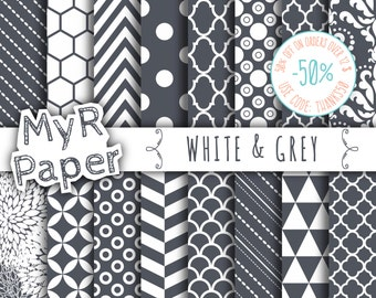 SALE digital paper - grey digital papers - 16 High Resolution JPEG files