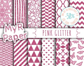 """SALE 50% Pink Glitter Digital Paper: """"Pink Glitter"""" Pack of Backgrounds with Damask, Triangles, Hearts in Pink Glitter and Fresh White"""