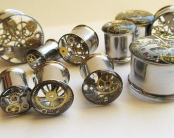Steampunk Ear Plugs READY TO SHIP Cog Gear Gauges Watch parts Ear Tunnels 8mm 0g / 10mm 00g / 11mm 7/16 g / 12mm; 14mm; 16mm; 19mm; 22mm
