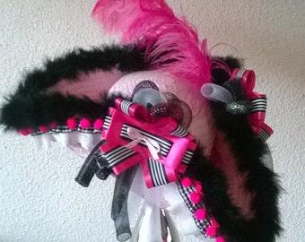Pink Tricorn Hat/Rococco/Marie Antoinette/black/white/bows/renaissance
