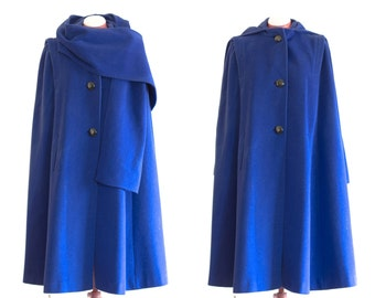 Electric blue wool cape with hood, scarf, and pockets