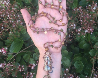 Earth Healer crystal vial necklace