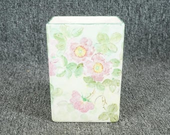 Floral Hand-Painted Vase Trinket Box C. 1930