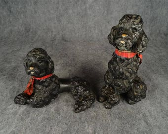Vintage 1950S Black French Poodles Chalkware Figurines By Universal Statuary