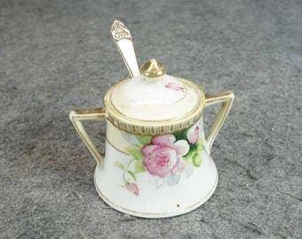 Nippon Hand-Painted Sugar Bowl With Lid And Victor S. Co. Spoon C. 1910's-20s