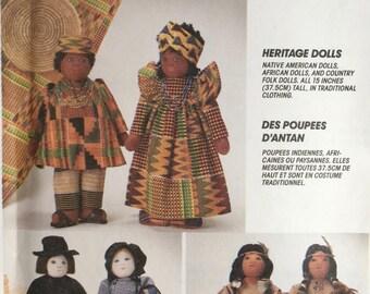 "McCalls 7116 - Heritage Dolls 15"" HERITAGE DOLL, Native American, African, Folk"
