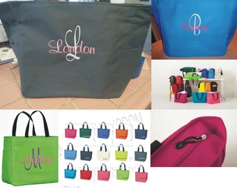8 Personalized Tote Bag Monogram Bridesmaid Gift Wedding Teacher zipper SHOWER Personalized Embroidered