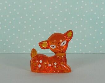 Vintage baby deer figurine plastic 1970s amber