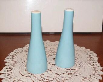 "Vintage Mikasa Japan turquoise blue 6 1/4"" tall salt and pepper shakers"