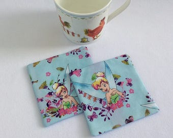 Fabric coasters mug rugs / cotton coasters / cotton mug rugs / fairy coasters / girls coasters / childrens coasters / table mats