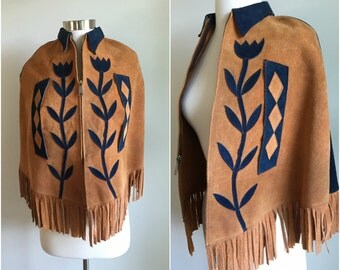 Vtg 1970s Applique CAPE PONCHO Suede Tan + Navy Flowers Floral Leather Fringe S