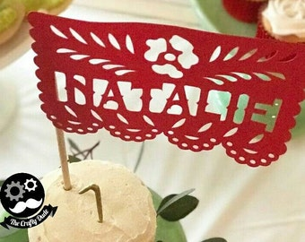 Papel picado name cake topper plus bonus papel picao flag! / Mexican cake topper / Fiesta cake toper / papel picado cake toper
