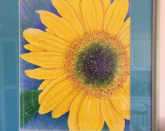 Original Oil Pastel Sunflower Painting Flower Picture Print Framed and Glazed