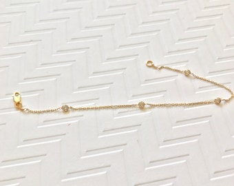 Diamonds by the yard bracelet / CZ bracelet / CZ on a bezel bracelet / station bracelet /14k solid gold bracelet / satellite bracelet