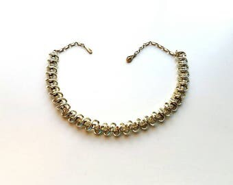 Vintage CORO Gold S-Links with Clear Rhinestones Choker Necklace
