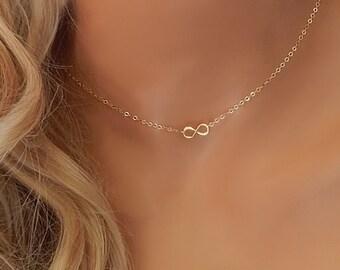 Infinity Choker • Infinity Charm • Small Infinity • Infinity Pendant • Tiny Gold or Silver Infinity • Dainty Infinity Choker [418]