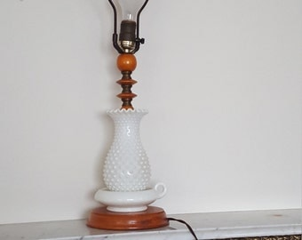 Vintage Hobnail Milk glass Lamp with wood base and accents