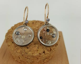 Rose Gold Diamond Dangle Earrings with Sapphire Crystals