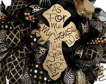 Black and Gold Animal Print Deco Mesh Wreath-Joshua 24 deco mesh wreath-Joshua 24:15 Cross-Church Wreath- Animal print wreath