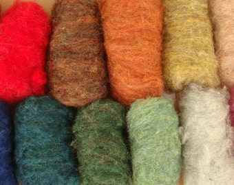 80gms eco-friendly Scottish cheviot wool (8 colours),ideal for needle felting and fibre art