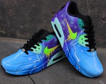"Custom Airbrush Nike Air Max 90 Sneaker Blue Purple Galaxy Style ""UNIKAT"" Shoes"
