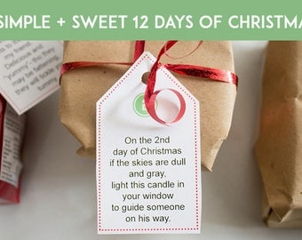 12 Days of Christmas Poem Tags Digital Download