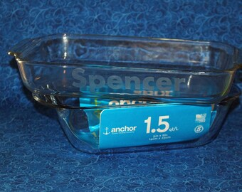 1.5 Quart Anchor Hocking 5X9 Glass Baking Dish Personalized with Etched Name