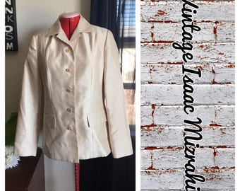 Isaac Mizrahi  Vintage Ivory Shimmer single breasted blazer