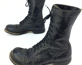 Vintage Corcoran Black Leather Cap Toe Military Combat Jump Boots Sz. 10 1/2