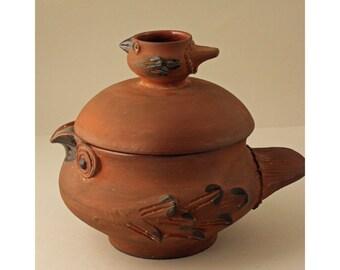 Dybdahl Studio, Denmark. Whimsical Lidded Hen Bowl. Mid Century Art Pottery