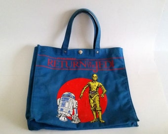 Vintage Star Wars Tote Bag | Return Of The Jedi Pack Features R2-D2 & C-3PO | c 1983