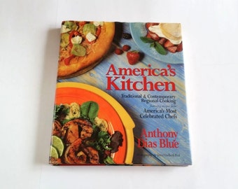 Vintage cookbook etsy vintage americas kitchen cookbook traditional contemporary regional cooking celebrity chefs recipes signed by forumfinder Image collections