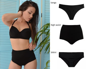 High waisted cheeky tanga or bikini swimsuit set  / High waisted Swimsuit / Cheeky bikini / Black bikini / Plus size bikini