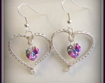 Wire woven hearts with Swarovski crystal hearts, Valentines Jewelry, Heart Jewelry, wire wrapped earrings, made in USA, hypo-allergenic