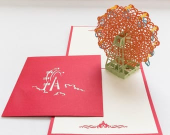 Ferris Wheel Card, 3-D Pop-Up Card, Hand-crafted, Chinese paper-cut, Renewal Cards