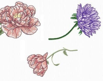 3 4 x 4 format flowers embroidery designs