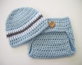 Baby Boy Outfit, Coming Home Outfit, Newborn Boy Hat, Boy Diaper Cover, Baby Shower Gift, Crochet Baby Outfit, Baby Boy Hat, Newborn Hat