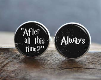 Men Cufflinks - Quote cufflinks - 'After all this time? Always' Cuff Links-Always Cufflinks- Always Tie Bar - peronalized wedding jewelry