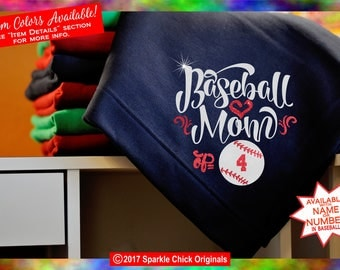 Baseball Mom Blanket, Baseball Blanket, Baseball Gift, Personalized GLITTER VINYL Baseball Stadium Blanket with or without Custom Number
