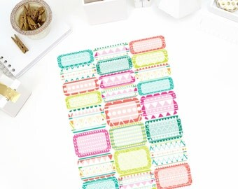 Neon Aztec Half and Quarter Box Stickers! Perfect for your Erin Condren Life Planner, calendar, Paper Plum, Filofax!
