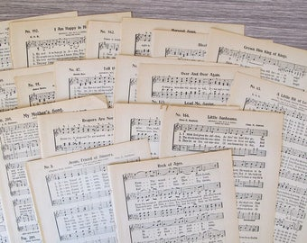 1914 antique hymnal sheet music for paper crafting, junk journals, smash books, scrapbooking and collage