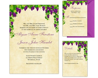 Vineyard Wedding Invitations - Wine Wedding Theme - Printable Wedding Suite - PDF Template - Instant Download